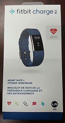 Brand New Fitbit Charge 2 with Heart Rate Monitor Blue Color Large Size