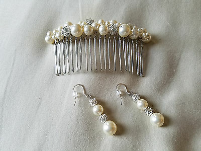 Swarovski Pearl and Rhinestone bridal hair comb and earring set