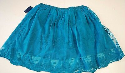 Girls  Skirt Size 10/12 Large Kids Teen Lace Layered Lined Turquoise Blue NWT