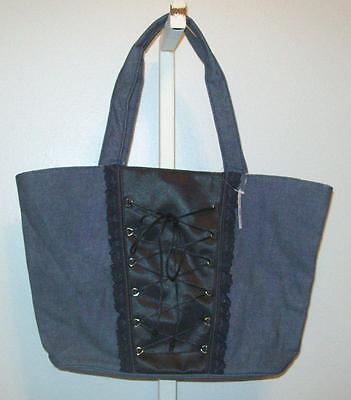 Victoria's Secret Denim & Black Corset Purse Tote Bag Pink Lining NWT