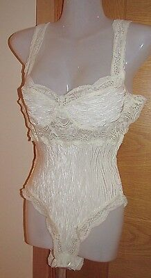 Vintage St Michael M&S Cream / Ivory Silky Satin feel Trim Teddy All-in-One  12