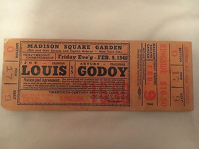 full ticket for 1940 world title joe louis v arturo godoy