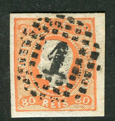 PORTUGAL;  1865 early classic Luis Imperf issue fine used 80r. value