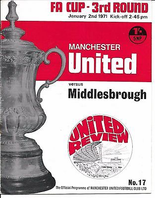 70/71 Man Utd v Middlesbrough FA Cup 3rd Round  @ Old Trafford on 2 Jan 1971