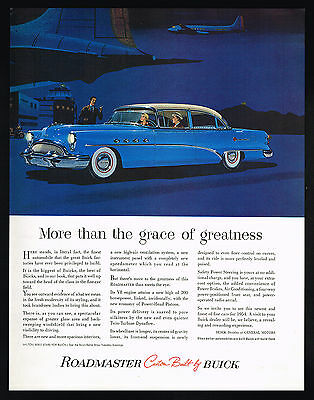 1954 Buick Roadmaster Car Airport Airplanes Vintage Color Print Ad