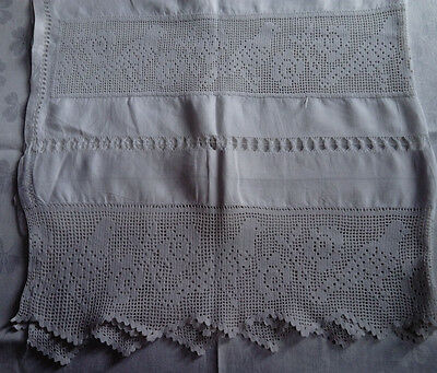 Antique Hand-Made Filet Crochet Lace Linen Table Cloth With Birds Monogrammed Ec