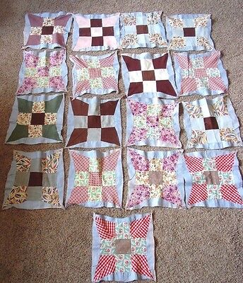 Lot of 17 Vintage Quilt Blocks  Old Fabric Cotton Crafts