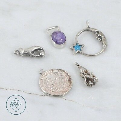 Sterling Silver | (QTY 5) Assorted Charm Pendants 10.6g | Lot MU4903