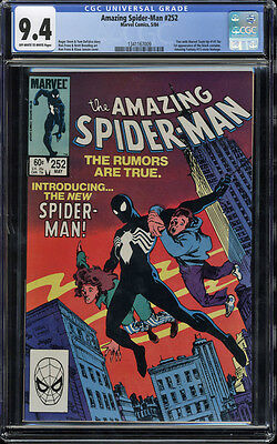 Amazing Spider-Man #252 CGC 9.4 OW/W Marvel Team-Up #141 tie-in 1st Black Suit