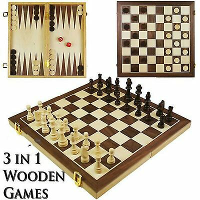 3 in 1 Wooden Board Game Set Compendium Travel Games Chess Backgammon Draughts.