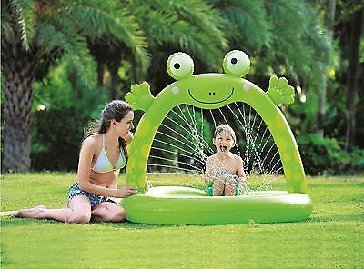"""Jilong - 51"""" Green Inflatable Spotted Happy Frog Children's Spray Pool"""
