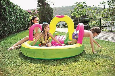 """Jilong - 57"""" Bright Green Yellow And Pink Inflatable Children's Pool With Slide"""