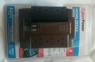 Cyber Power Systems P600WSURC1 6 Outlet 2 Usb Surge Protector