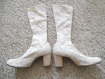 1960's Vintage Mod Stretch Lace Go-Go Knee High Boots Off-White Chunky Heel
