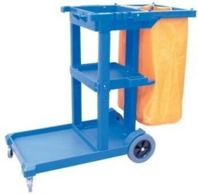 Cleanmax Blue Janitors Cart with Bag
