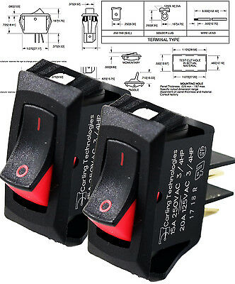 2 PCS - Carling Technologies RSCA201-VB-B-9-V Switch Rocker SPST, 20A, 125V,