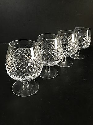 """Waterford Crystal Alana 5 1/8"""" Brandy Snifter Glasses Set Of 4 Balloon Goblets"""