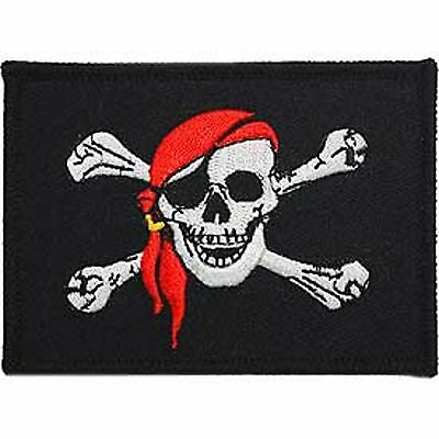 "PIRATE FLAG PATCH 3 1/2"" x 2 1/2""  Iron or Sew on"
