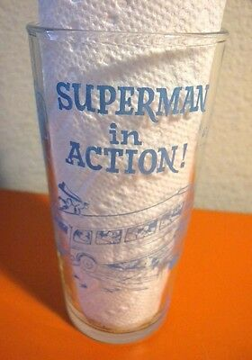"""Vintage 1964 Superman In Action 5 3/4""""  Glass - Free Shipping!!!"""