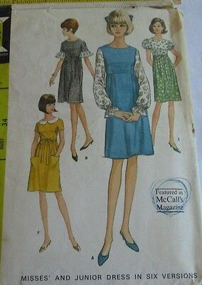 Vintage McCall's 1960's Pattern 8245 Misses' Dress in 6 Versions Size 14 B34