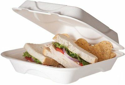 Eco Products EPHC91 Sugarcane Compostable Clamshell Food Container, 3 X 8 X 8,