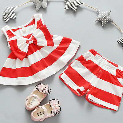 2PCS Toddler Kids Baby Girls T-shirt Tops+Floral Shorts Pants Outfit Clothes Set