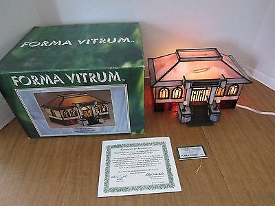 Vitreville Post Office Stained Glass Lighted Piece 1993 Bill Job Design Box COA