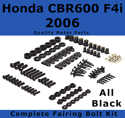 Complete Black Fairing Bolt Kit body screws fasteners for Honda CBR 600 F4i 2006