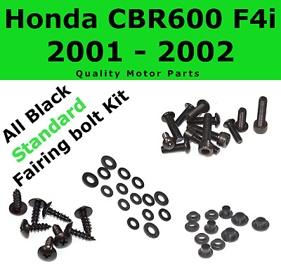 Black Fairing Bolt Kit body screws fasteners for Honda CBR 600 F4i 2001 - 2002