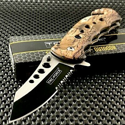 TAC FORCE SPRING ASSISTED TACTICAL WOOD FOLDING KNIFE Blade Pocket Open 7.75""