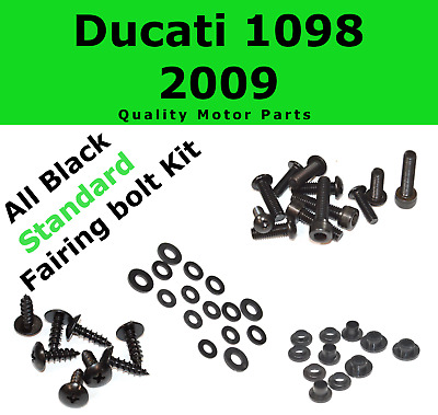 Black Fairing Bolt Kit body screws fasteners for Ducati 1098 2009 ; 848 EVO