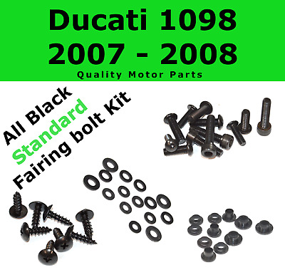 Black Fairing Bolt Kit body screws fasteners for Ducati 1098 2007 - 2008