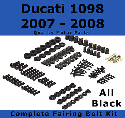 Complete Black Fairing Bolt Kit body screws fasteners for Ducati 1098 07 - 08