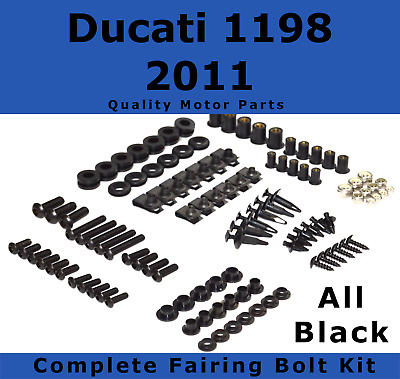 Complete Black Fairing Bolt Kit body screws fasteners for Ducati 1198 2011