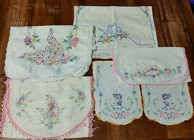 Lot of 7 Vintage embroidery table scarves linens and misc