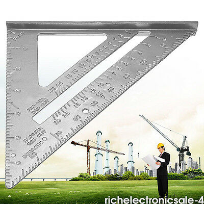"7"" Silver Ruler Triangle Square Protractor Carpenter Miter Frame Measuring Tools"