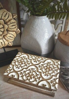 Carved Moroccan Wooden/Wood/Timber White Storage/Display/Book/Novel/Trinket/Box