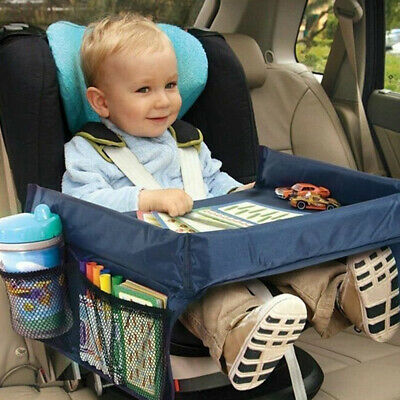 Kids Travel Tray for Snack Waterproof Safety Baby Car Seat Table Board Eat +Play