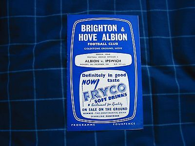 Brighton v Ipswich Vintage 1959 Football Programme in VGC ***FREE UK DELIVERY***