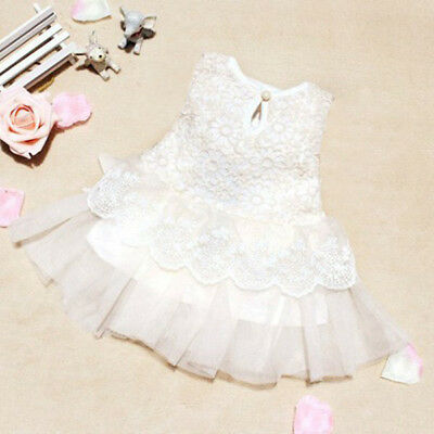 Newborn Baby Girl Party Princess Pageant Tutu Kid Toddler Bow Flower Dress 0-24M