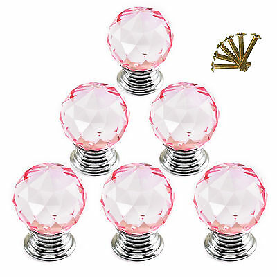 6x Pink Crystal Clear Glass Cut Door Knob Pull 30mm Cabinet Kitchen Handle G64