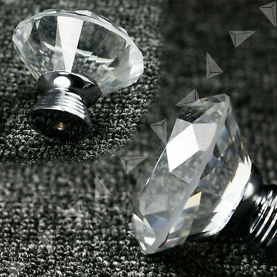 8pcs 40mm Diamond Cut Crystal Glass Pull Cabinet Kitchen Handle Door Knob G79B