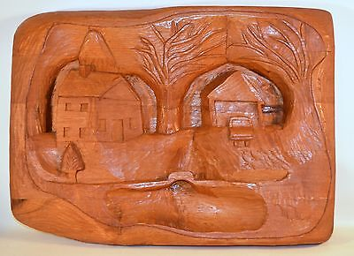 Vintage Large Hand Carved Wood Landscape Country Rustic Wall Hanging Signed