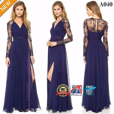 Lace Long Sleeve Maxi Womens Evening Formal Cocktail Party Ball Gown Dress A040