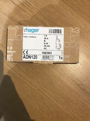 Hager 20A Single Pole Rcbo B Type