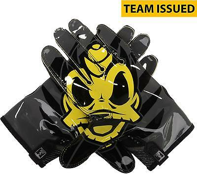 Oregon Ducks Team-Issued Black and Yellow Mesh Nike Football Gloves - Size L
