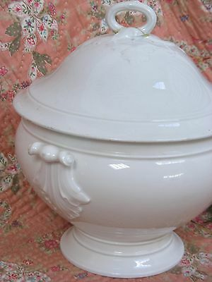 Large Antique French white ceramic soupière /soup tureen hoop handle