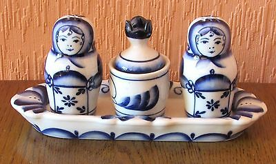 Russian Handmade Gzhel Blue & White Porcelain Cruet Set.