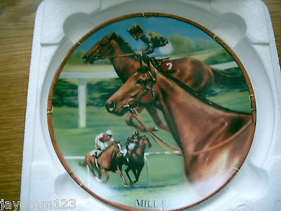 Famous Racehorse Plate Mill Reef Danbury Mint Royal Worcester Boxed With Cert