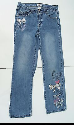 Circo Girls Sz 14 Jeans Adjustable Waist Stretch Embellished Bling Bow Ties Cute